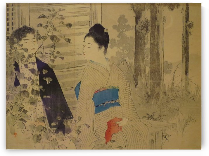 Couple Seated on a Temple Porch in Moonlight by Mizuno Toshikata