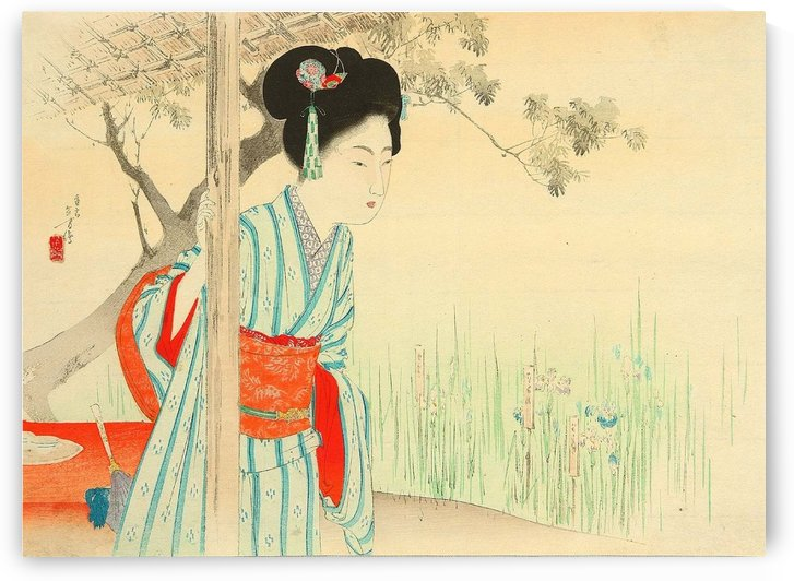 Girl in Iris Garden by Mizuno Toshikata