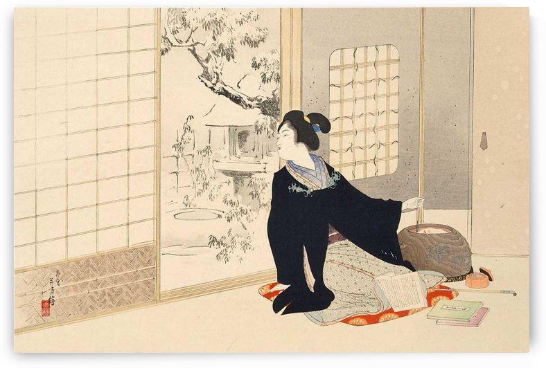 Woman watching outside by Mizuno Toshikata