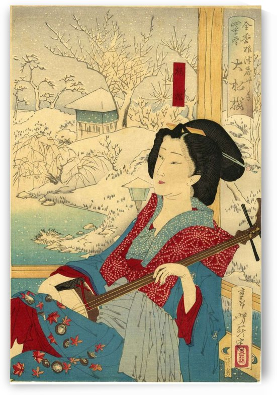 Woman within winter landscape by Mizuno Toshikata
