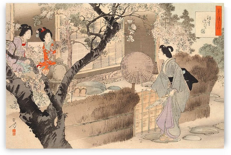 Women talking at entrance by Mizuno Toshikata