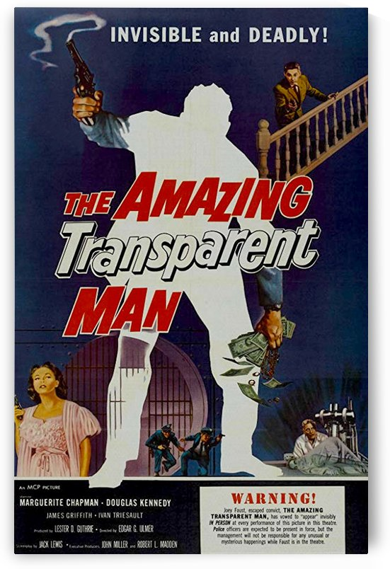 The Amazing Transparent Man 1960 Poster 3 by Culturio