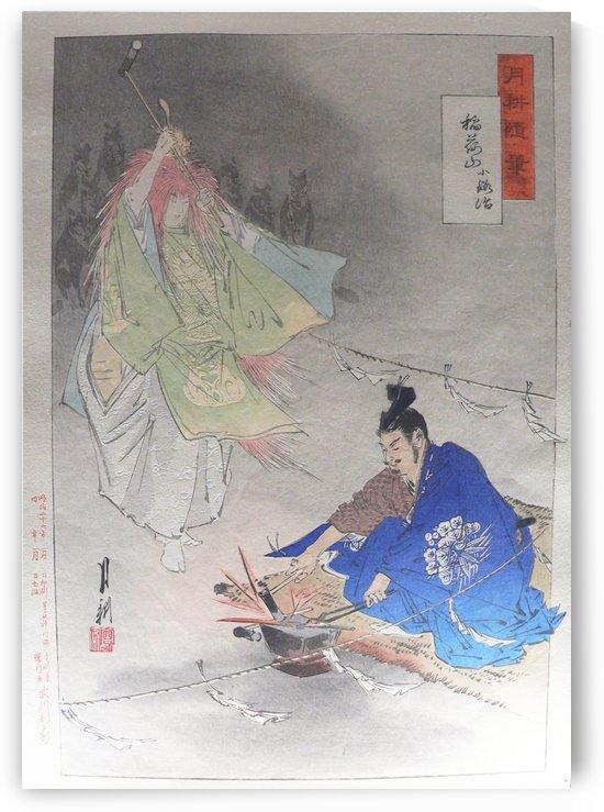 Blacksmith Munechika helped by a fox spirit in forging blade by Ogata Gekko