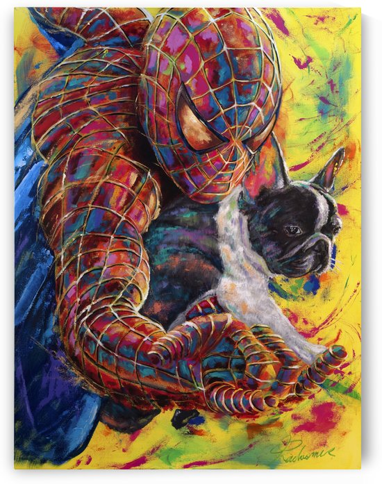 Spiderman with French bulldog by Tadaomi Kawasaki