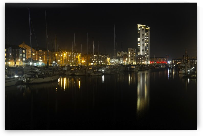 Evening reflections in Swansea Marina by Leighton Collins
