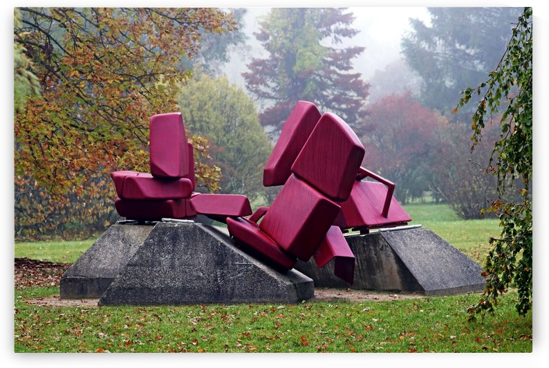 Red Abstract Sculpture In The Park by Deb Oppermann