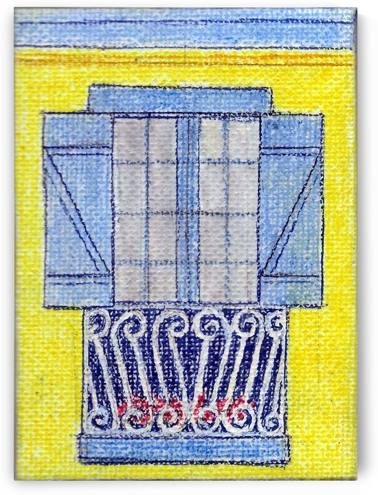 Blue Shutters Yellow Wall by Jayne Somogy