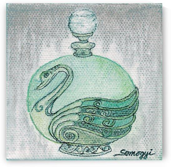 BOTTLED VERDIGRIS SWAN by Jayne Somogy