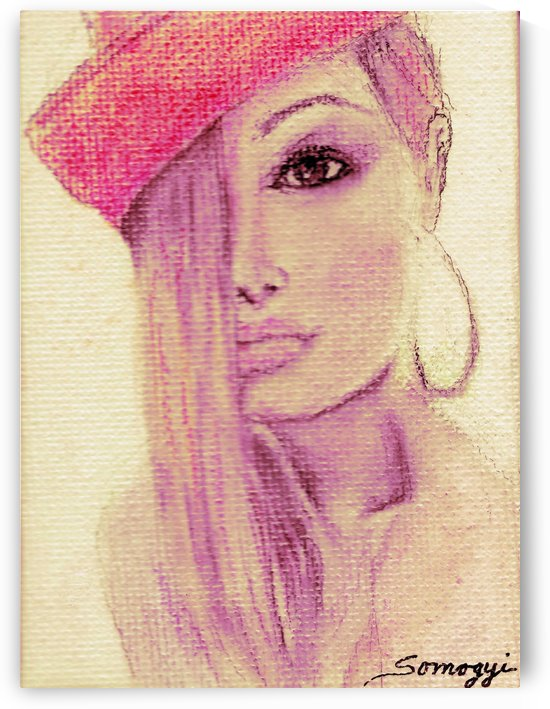 Blond Hair Red Hat by Jayne Somogy