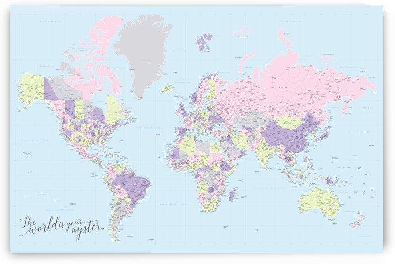 highly detailed nursery world map in pastels by blursbyai