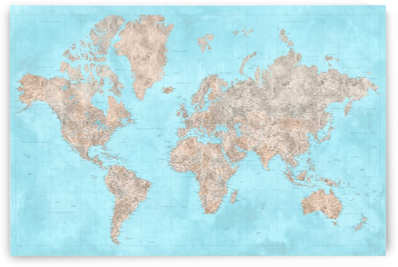 highly detailed watercolor world map in neutrals and light blue by blursbyai