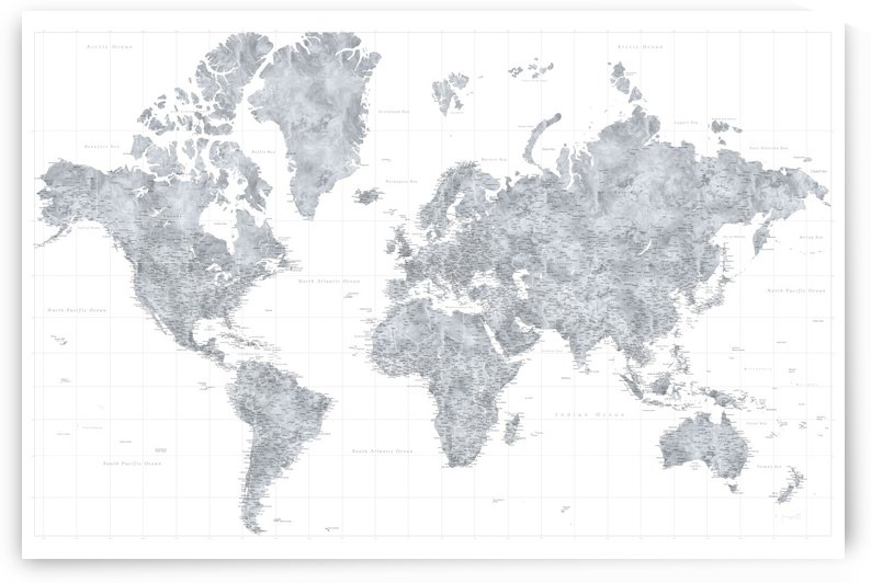 highly detailed watercolor world map in light grey by blursbyai