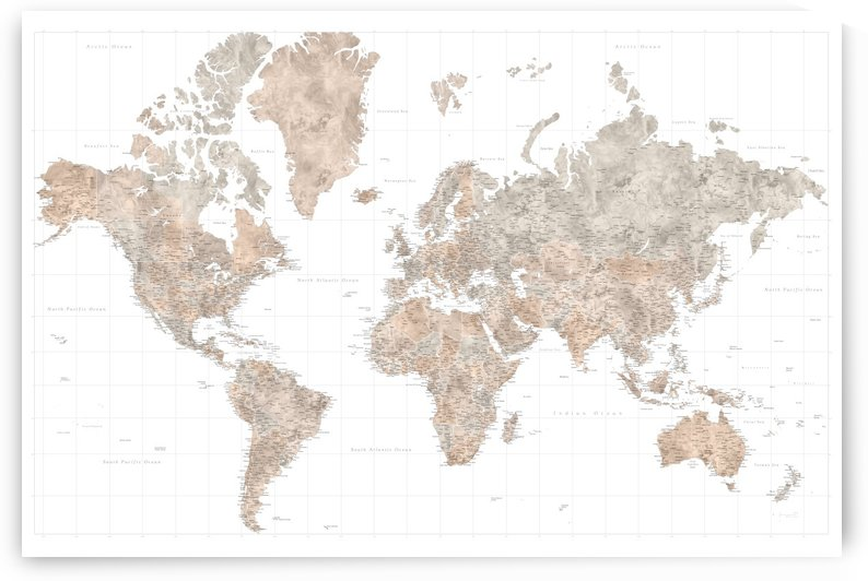 highly detailed watercolor world map in neutral taupe and light brown by blursbyai