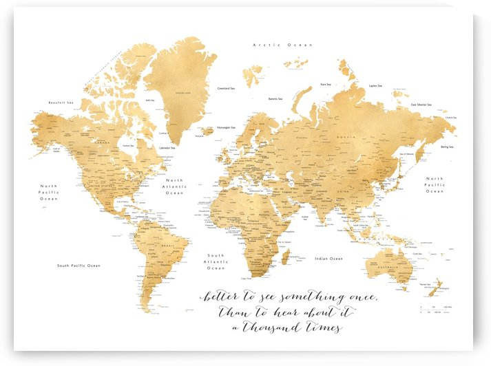 highly detailed world map in gold with inspirational quote by blursbyai