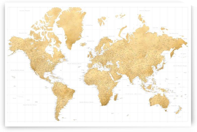 highly detailed world map in gold foil effect by blursbyai