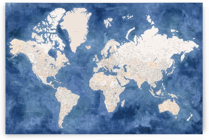 highly detailed world map in dark blue and neutrals by blursbyai