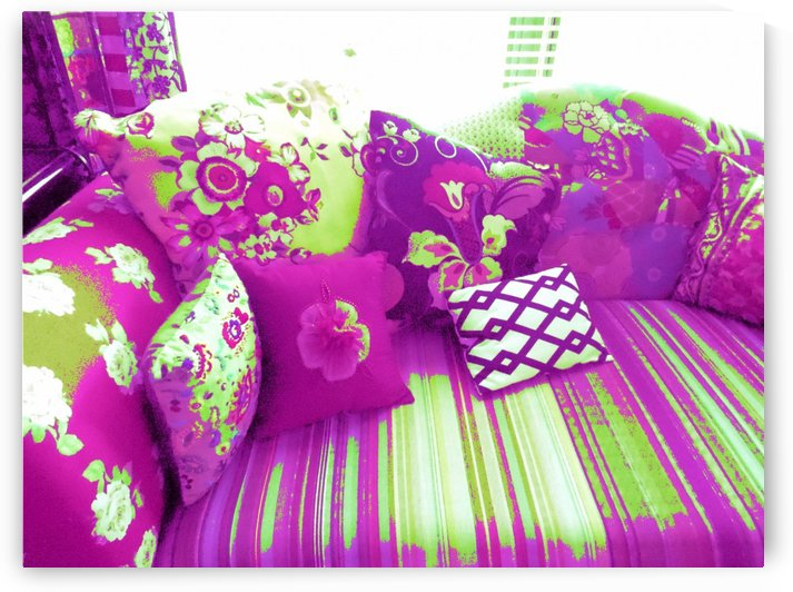 Purple & Green Couch by Jayne Somogy