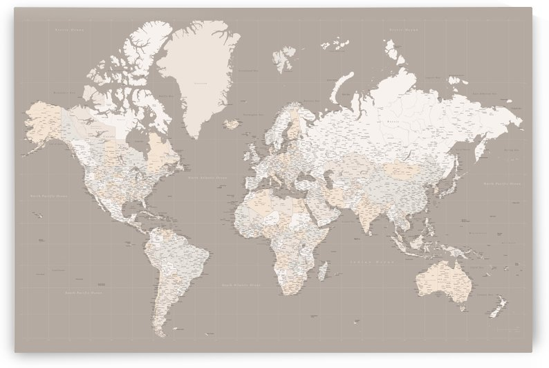 highly detailed world map in light brown earth tones by blursbyai