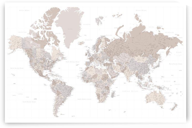 highly detailed world map in taupe by blursbyai
