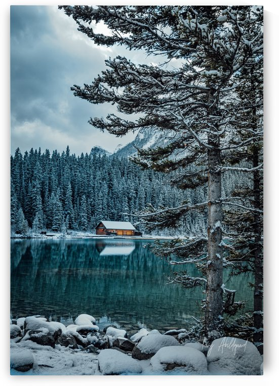 Cabin in the Snow   Hi Res   A3 by Tracy Abildgaard