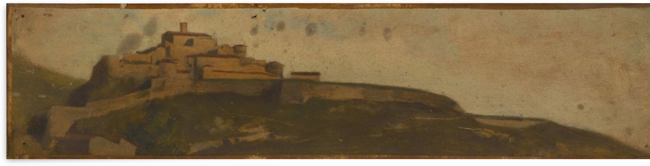 Paysage d Italie village fortifie sur la colline by Jean-Jacques Henner