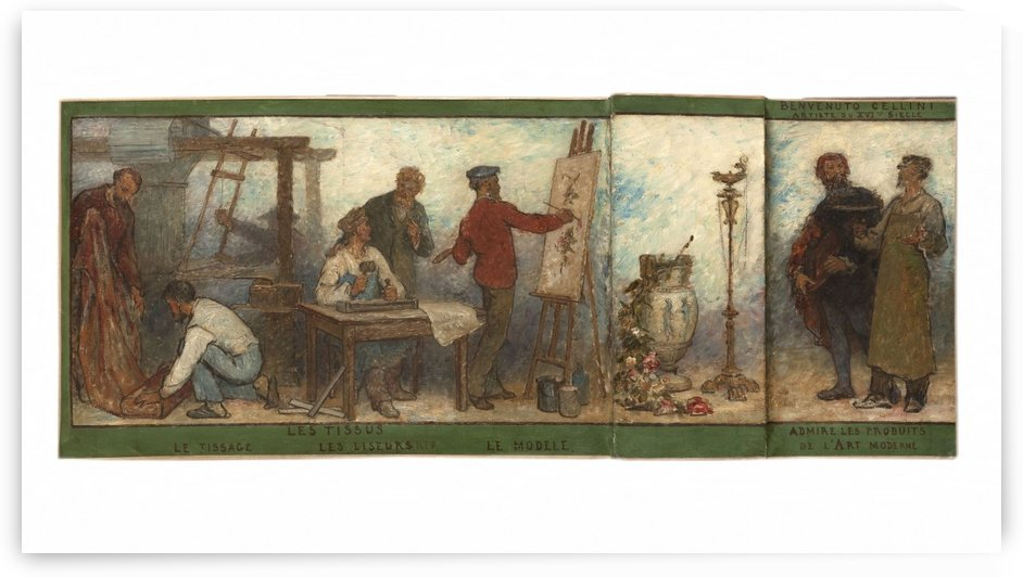 Benvenuto Cellini artiste du XVIe siecle admire les produits de l art moderne Les tissus Esquisse pour la salle dessin de l ecole de la rue Dombasle 15eme arrondissement de Paris by Edmond Eugene Valton