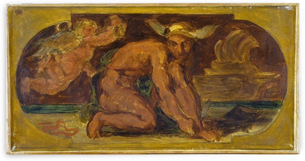 Mercure Esquisse pour le salon de la Paix a l Hotel de Ville de Paris by Eugene Delacroix