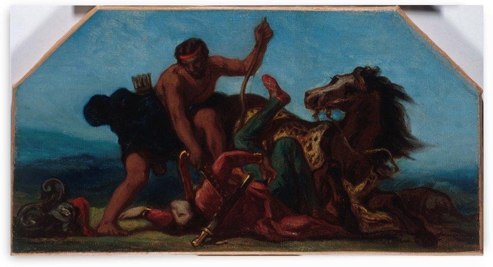 Esquisse pour le salon de la Paix a l Hotel de Ville de Paris Hercule vainqueur d Hippolyte reine des Amazones by Eugene Delacroix