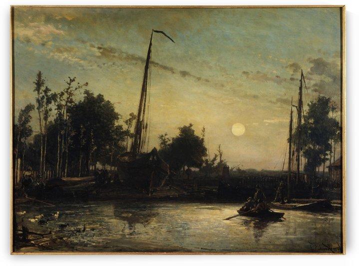Bateau en construction en bord de canal, Paysage hollandais by Johan Barthold Jongkind