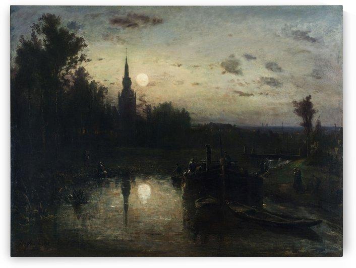 Clair de lune a Overschie environs de Rotterdam by Johan Barthold Jongkind