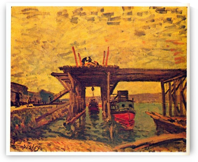 Bridge under construction by Sisley by Sisley