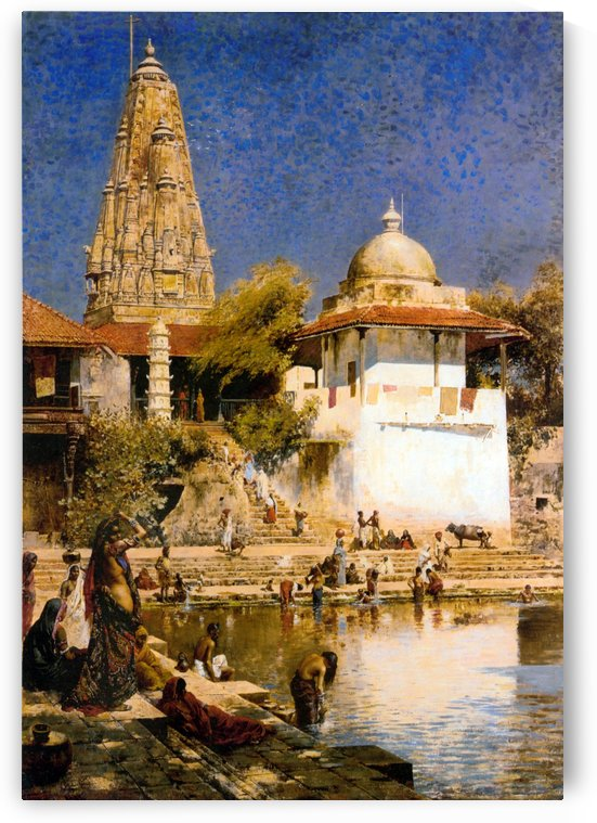 The Temple and Tank of Walkeschwar at Bombay by Edwin Lord Weeks