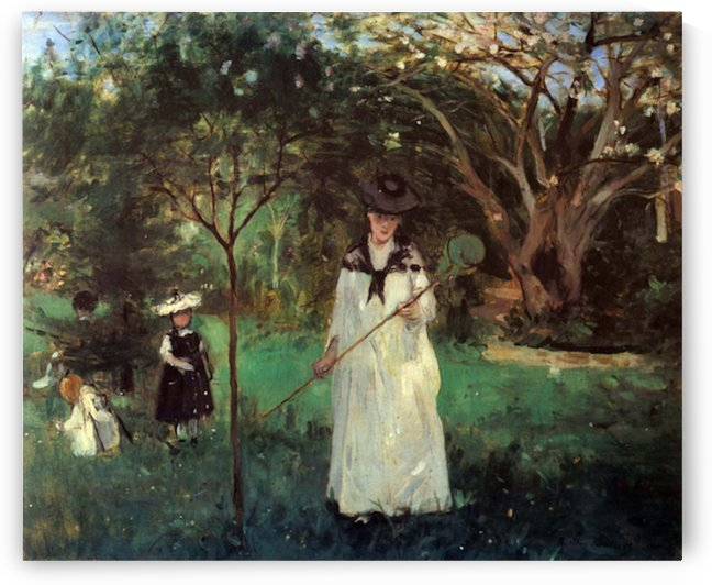 Butterfly hunting by Morisot by Morisot