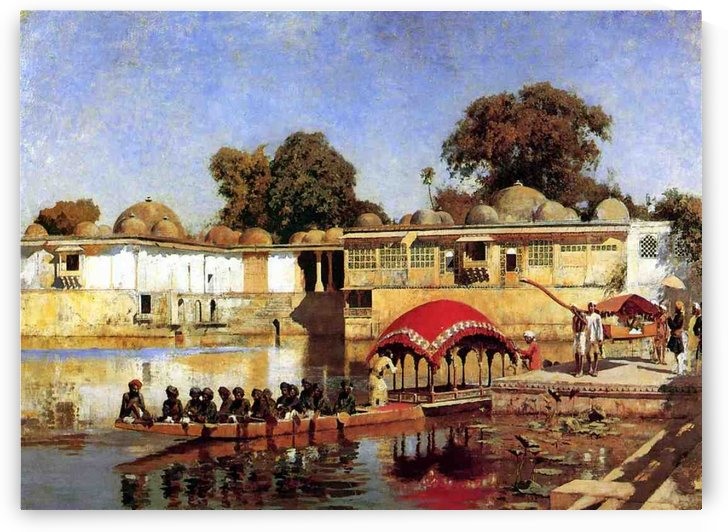 Palace and Lake at Sarket-Ahmedabad, India by Edwin Lord Weeks