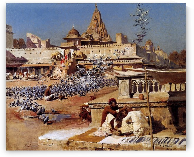 Feeding The Sacred Pigeons, Jaipur by Edwin Lord Weeks