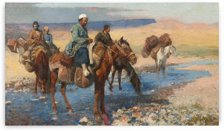 Horses at the Ford-Persia by Edwin Lord Weeks