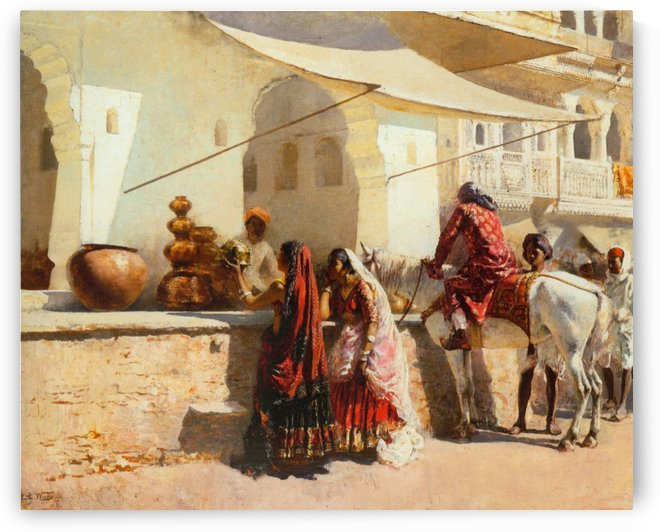 Street market scene, India by Edwin Lord Weeks