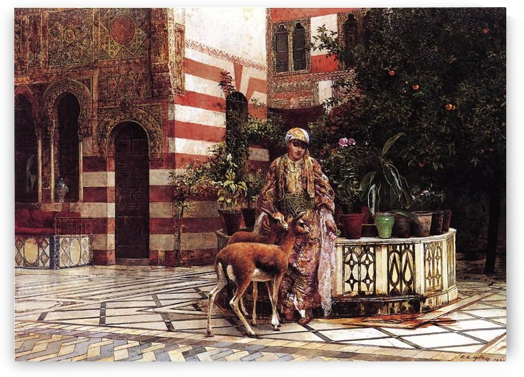 Girl in a Moorish Courtyard by Edwin Lord Weeks