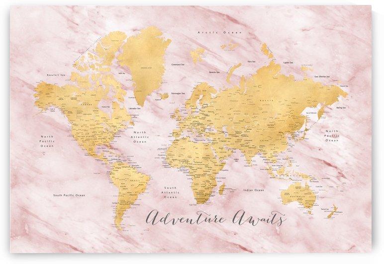 Adventure awaits, detailed gold and pink marble world map by blursbyai by blursbyai