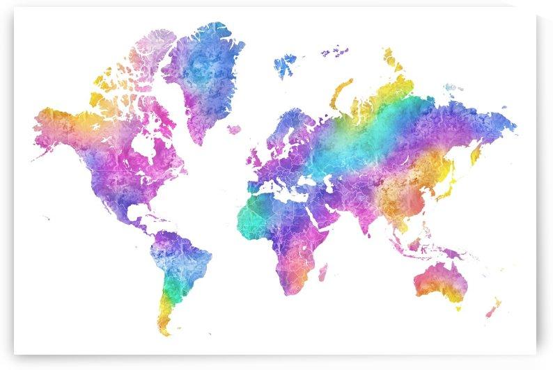 Colorful watercolor world map by blursbyai by blursbyai