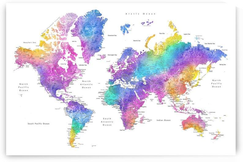 Detailed colorful watercolor world map by blursbyai by blursbyai