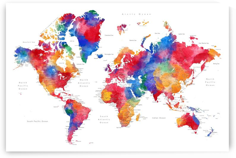 Detailed colorful and painterly watercolor world map by blursbyai by blursbyai