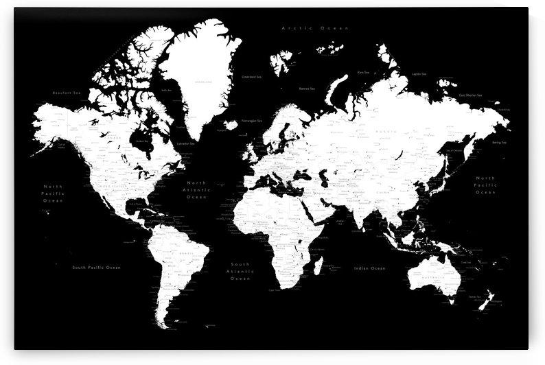 Detailed black and white world map by blursbyai by blursbyai
