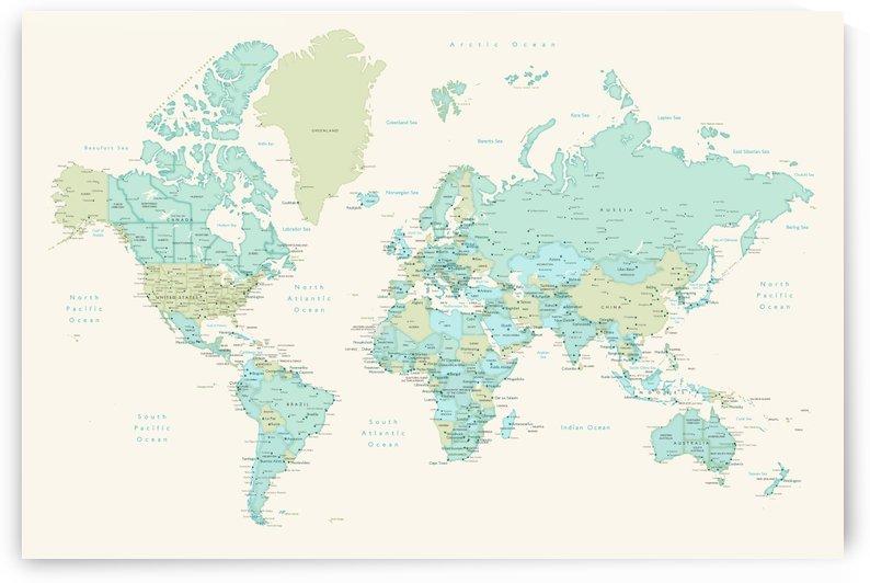 Detailed dreamy mint and cream world map by blursbyai by blursbyai