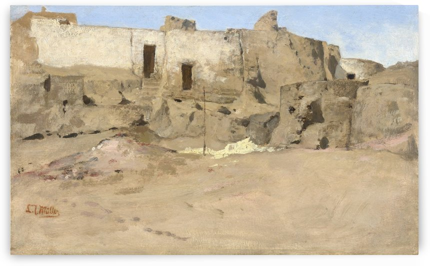 A Group of Houses near Banha El-Asal, Egypt by Leopold Carl Muller
