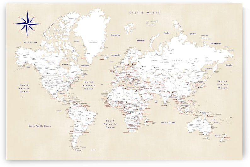 Detailed distressed world map by blursbyai in cream by blursbyai