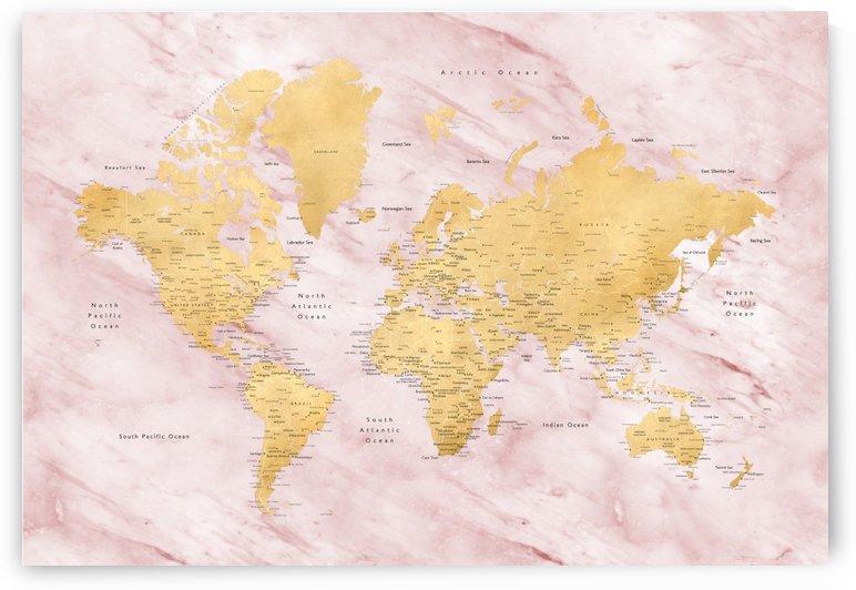 Detailed gold world map with pink marble by blursbyai by blursbyai