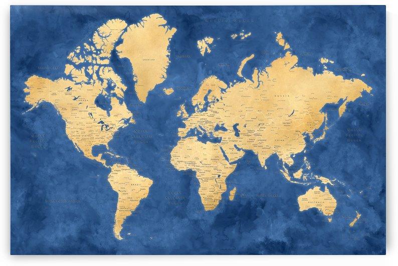 Detailed gold and blue watercolor world map by blursbyai by blursbyai