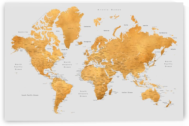 Detailed gold and grey world map by blursbyai by blursbyai