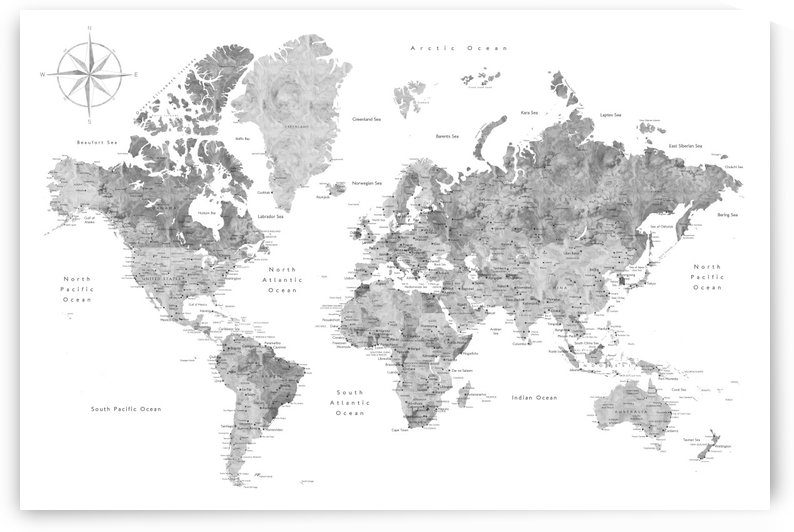 Detailed grey watercolor world map by blursbyai by blursbyai